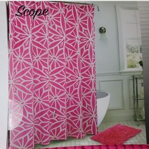 Bath set pink/white color NWT, shower curtain,mat